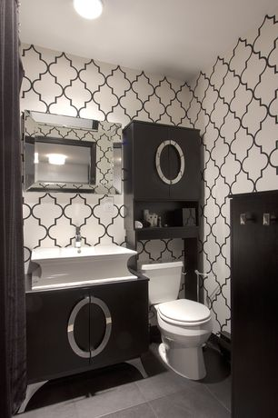 Contemporary Powder Room with London mirror, Flush, flush light, Powder room, European Cabinets, Vessel sink, Wood counters