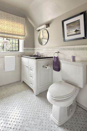 Traditional Full Bathroom with Inset cabinets, Powder room, Flat panel cabinets, Paint, Casement, Simple marble counters