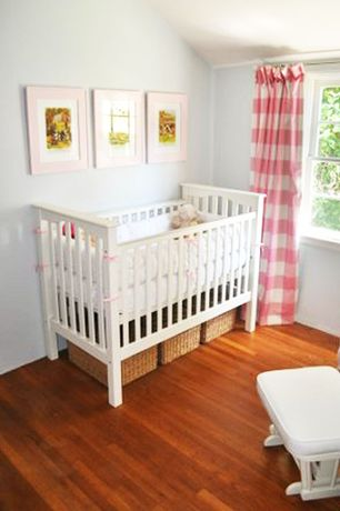 Contemporary Kids Bedroom with Curtains Made 4 U Buffalo Check Strawberry, Laminate floors