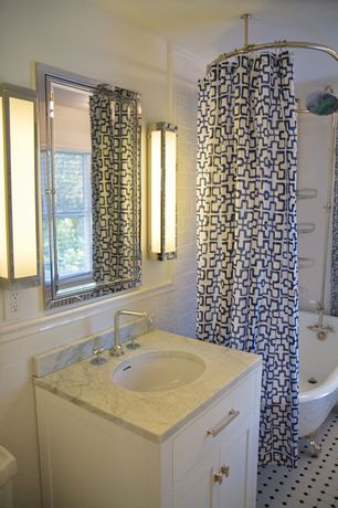 Contemporary Full Bathroom with Flat panel cabinets, Carpet, Inset cabinets, Wall sconce, Complex Granite, Undermount sink