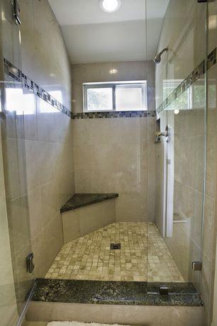 Modern Master Bathroom with Kaska Porcelain Mosaic - Florence Series Noce, Cabot Mosaic Tile - Glass Stone Blends Emperador