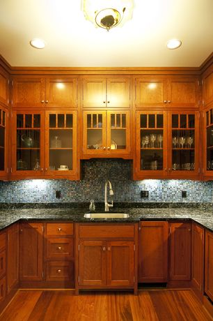 Traditional Kitchen with Flat panel cabinets, Glass panel, Penny Tile, MS International Verde Butterfly Granite, One-wall