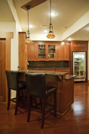 Traditional Kitchen with Glass panel, Flat panel cabinets, Pendant light, specialty door, Simple granite counters, One-wall
