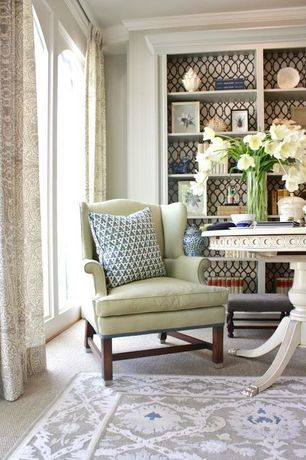 Contemporary Living Room with Pottery barn thatcher upholstered wingback chair