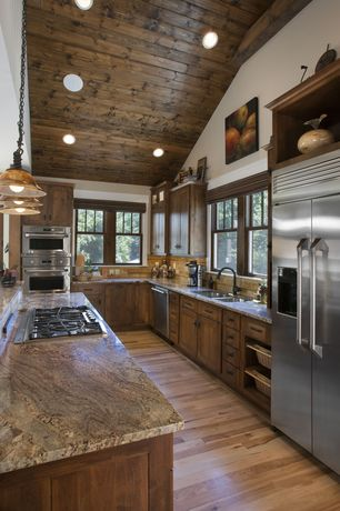 Craftsman Kitchen with High ceiling, Flat panel cabinets, Pendant light, Bellawood Select White Oak, U-shaped, Flush