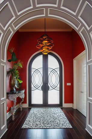 Modern Entryway with specialty door, Laminate floors, Paint, French doors, Arch doorway, High ceiling, Pendant light