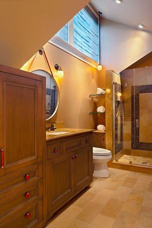 Craftsman Master Bathroom with picture window, Paint, can lights, frameless showerdoor, Wall sconce, High ceiling, Flush