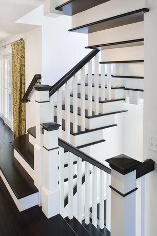 Contemporary Staircase with Laminate floors, Banister, High ceiling, Fabric curtain