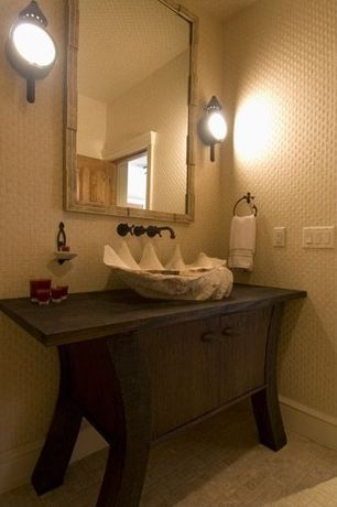 Eclectic Powder Room with Wall sconce, Sinks Faucets and More Hand Crafted Clam Shell Vessel Sink, Standard height