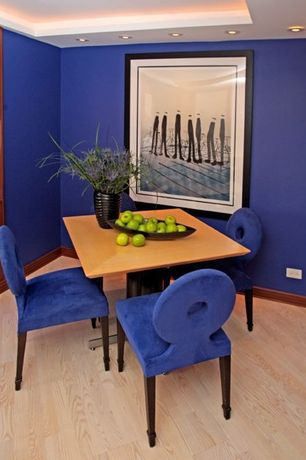 Modern Dining Room with High ceiling, Trey ceiling, Polo chair, Laminate floors, interior wallpaper