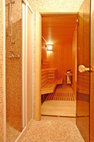 Modern Master Bathroom with Glass panel door, Glass enclosed cedar sauna, ceramic tile floors, Handheld showerhead, Dry sauna
