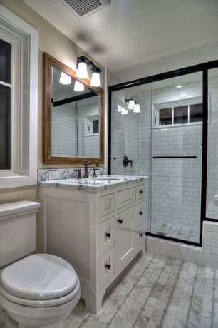 Traditional 3/4 Bathroom with Complex marble counters, Flush, Flat panel cabinets, Complex Marble, Undermount sink