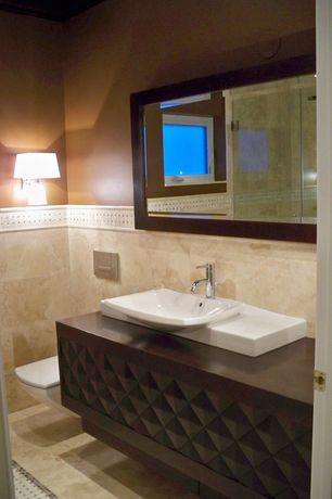 Contemporary Full Bathroom with Vessel sink, Wall sconce, Hansgrohe 14111821 talis c single hole faucet, Wood counters