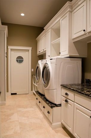 Traditional Laundry Room with Samsung front load washer