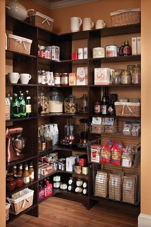 Traditional Pantry with Hardwood floors, Built-in bookshelf, Crown molding