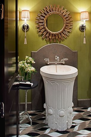 Eclectic Powder Room with Pedestal sink, complex marble floors, Wall sconce, Inset cabinets, Flat panel cabinets, Powder room
