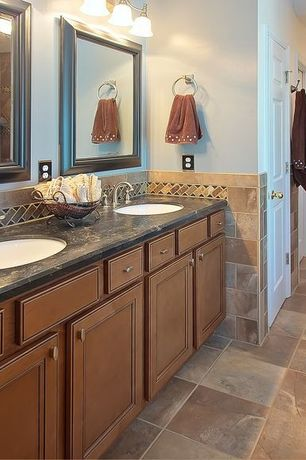 Mediterranean Master Bathroom with Standard height, Double sink, partial backsplash, Undermount sink, Simple granite counters