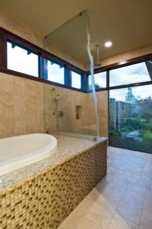 Contemporary Master Bathroom with Rain shower, Bathtub, Shower, Master bathroom, no showerdoor, picture window, can lights