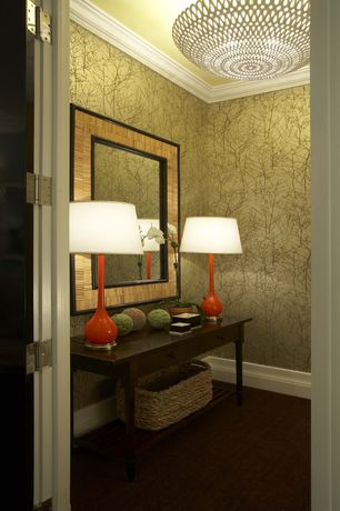 Contemporary Hallway with French doors, Crown molding, flush light, Urbangreen hudson console table, interior wallpaper