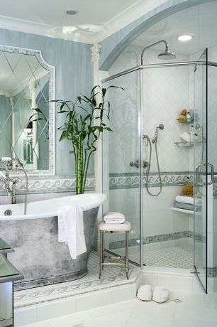 Traditional Full Bathroom with Wall Tiles, Crown molding, large ceramic tile floors, Paint 2, can lights, Bathtub, Shower