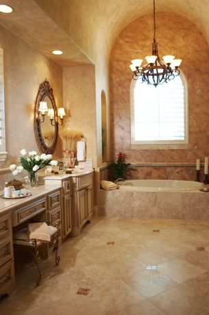 Traditional Master Bathroom with Natural stone collection crema marfil 12 in. x 12 in. marble floor and wall tile