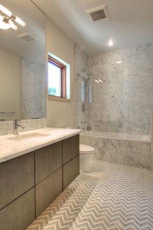 Contemporary Master Bathroom with Flush, Complex granite counters, Casement, full backsplash, can lights, Full Bath