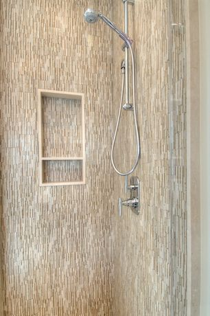 Contemporary 3/4 Bathroom with Pental porcelain brick mosaic, Restoration hardware grafton handheld shower
