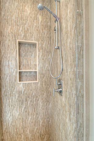 Contemporary 3/4 Bathroom with Restoration hardware grafton handheld shower, High ceiling, Handheld showerhead