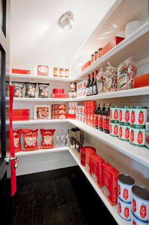 "Contemporary Pantry with Mazama acacia dark walnut 4 7/8"", flush light, Hardwood floors"