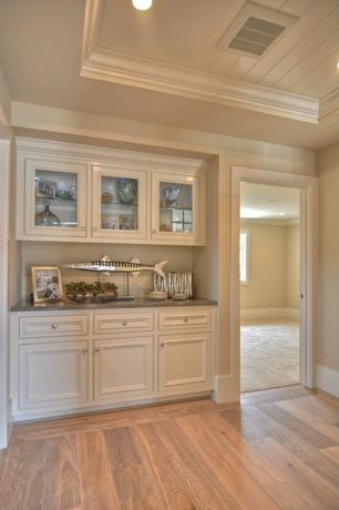 Traditional Hallway with Hardwood floors, Dulles Glass and Mirror Glass Shelves, Built-in hutch, Crown molding