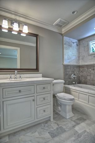 Traditional Full Bathroom with Honed marble floor and wall tile, partial backsplash, Flat panel cabinets, Simple Marble