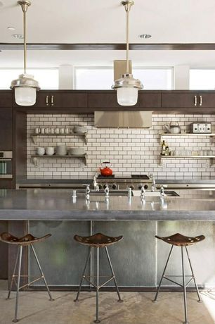Contemporary Kitchen with Subway Tile, Kitchen island, Undermount sink, Large Ceramic Tile, Flush, Concrete counters