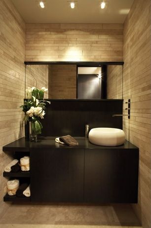 Contemporary Powder Room with Travertine Tile, Signature hardware burdis round onyx sink, Black cabinets