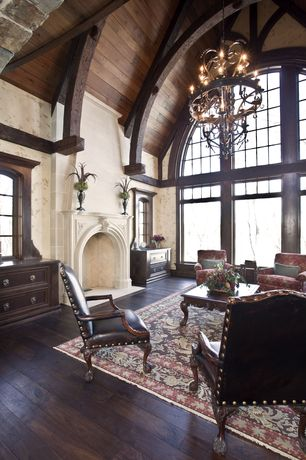 Traditional Living Room with Chandelier, Home Loft Concept Carolina leather weathered wood arm chair, picture window