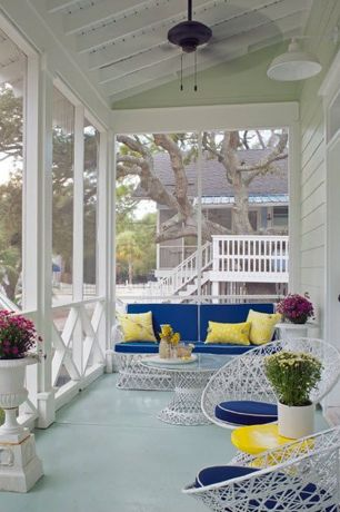 Traditional Porch with Deck Railing, Paint, Martini side table, Screened porch, Ceiling fan