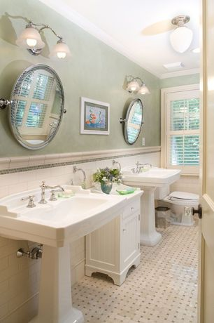 Traditional Full Bathroom with Pedestal sink, flush light, can lights, Casement, Flat panel cabinets, Standard height, Flush