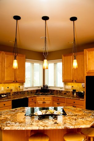 Modern Kitchen with full backsplash, Minka Lavery Kinston Collection Mini Pendant Light, Complex granite counters, can lights