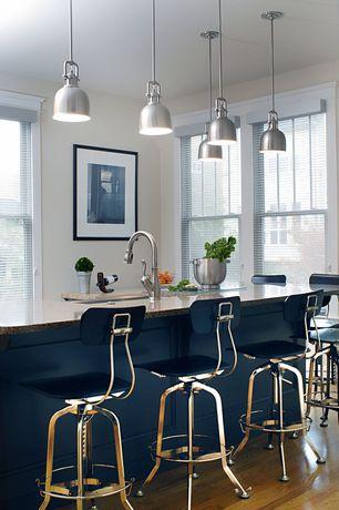 Contemporary Kitchen with Pendant light, Undermount sink, Hardwood floors, Simple granite counters, Breakfast bar