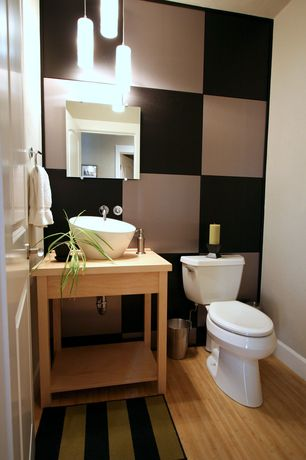 Contemporary Powder Room with Wood counters, Console sink, Bamboo floors, Pendant light, Powder room, Vessel sink