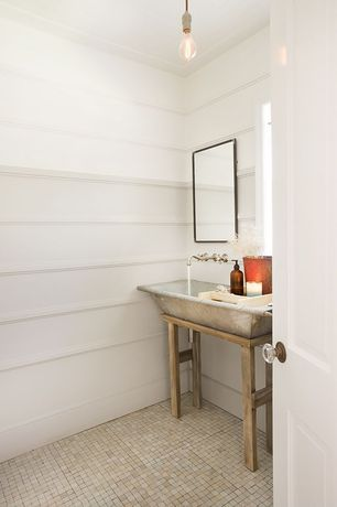 Country Powder Room with Repurpose galvanized trough, Washtub sink with wood base, Filament light bulbs, Wall mount faucet