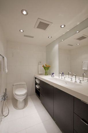 Contemporary 3/4 Bathroom with frameless showerdoor, European Cabinets, Flush, Handheld showerhead, Simple marble counters