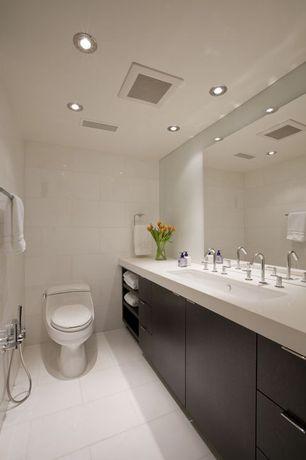 Contemporary 3/4 Bathroom with Standard height, Wall Tiles, three quarter bath, Handheld showerhead, Flush, Undermount sink