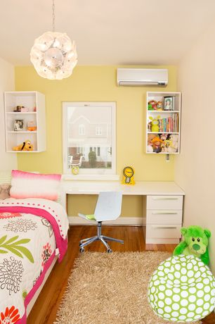 Contemporary Kids Bedroom with no bedroom feature, Built-in bookshelf, Flower burst pendant light, Paint 2, Paint 1, Shag rug