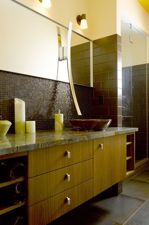 Modern 3/4 Bathroom with Ceramic Tile, stone tile floors, Vessel sink, wall-mounted above mirror bathroom light, Flush