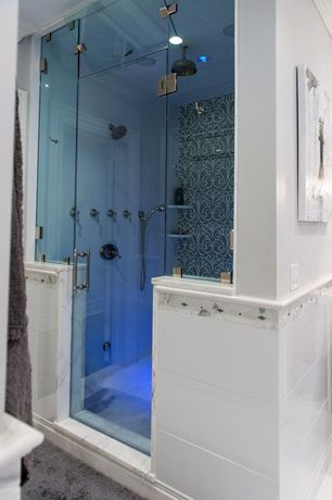 Traditional Master Bathroom with Daltile compostion gesso gloss, Rainfall showerhead, Glass shower door, Steam shower
