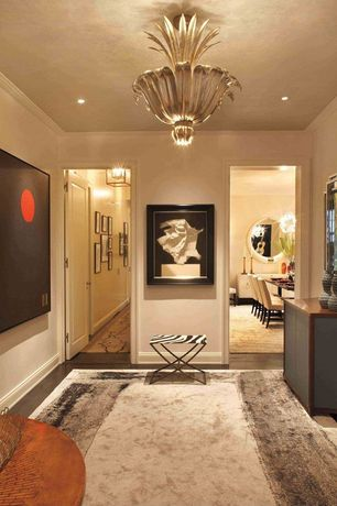 Contemporary Hallway with Chandelier, Standard height, can lights, Laminate floors, Crown molding