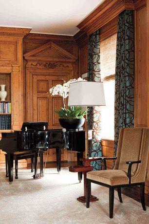 Traditional Living Room with Wainscotting, Hardwood floors, Built-in bookshelf