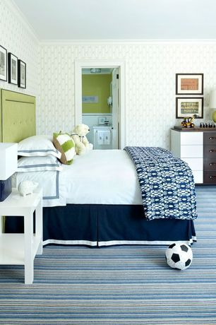 Contemporary Kids Bedroom with Lacquered side table, interior wallpaper, Box pleat bed skirt, Button-tufted headboard, Carpet