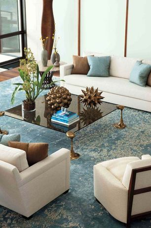 Contemporary Living Room with Safavieh Serenity Turquoise/ Gold Rug, Glass panel door, Hickory Chair Roberts Sofa
