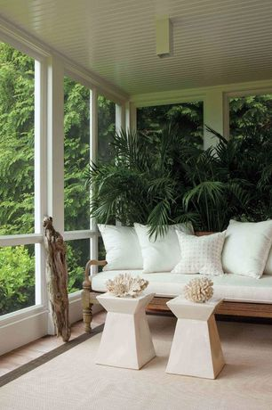 Contemporary Porch with Screened porch, Pawn stool - white lacquer, Sitting area, Neutral area rug, picture window